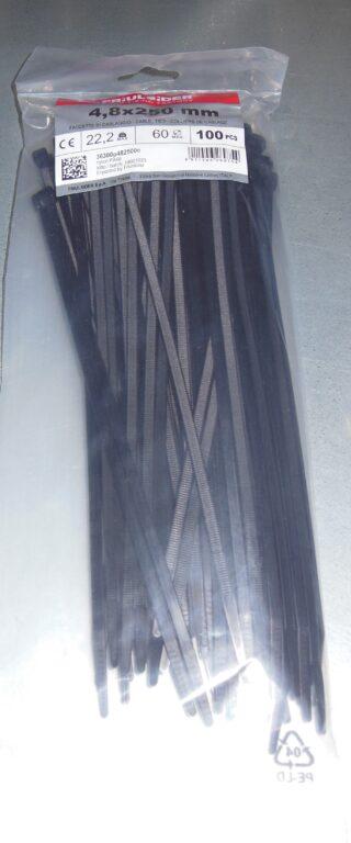 Páska stahovací FRIULSIDER 4,8 x 250 černá  100ks