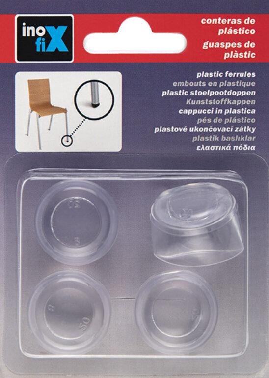 Silikonový návlek na nohu/y židle/í  pr.20mm transparentní  4ks blistr