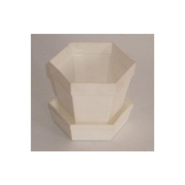 Květináč s miskou bílý, průměr 60 mm
